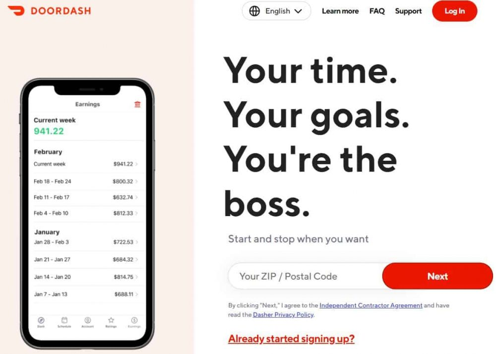 Doordash sign up