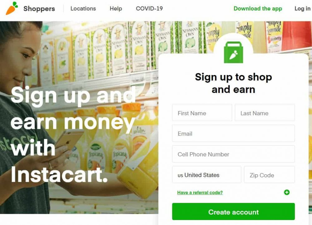 Instacart Shopper sign up