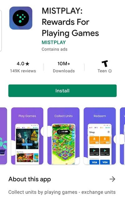Mistplay app on Playstore