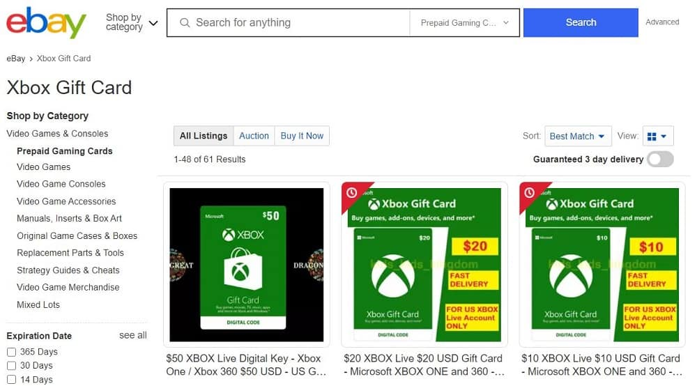 Xbox gift cards on Ebay
