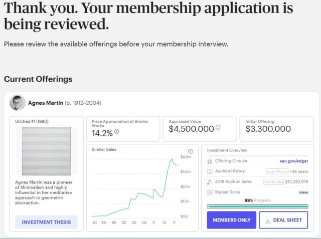 Masterworks will review your membership - browse investments