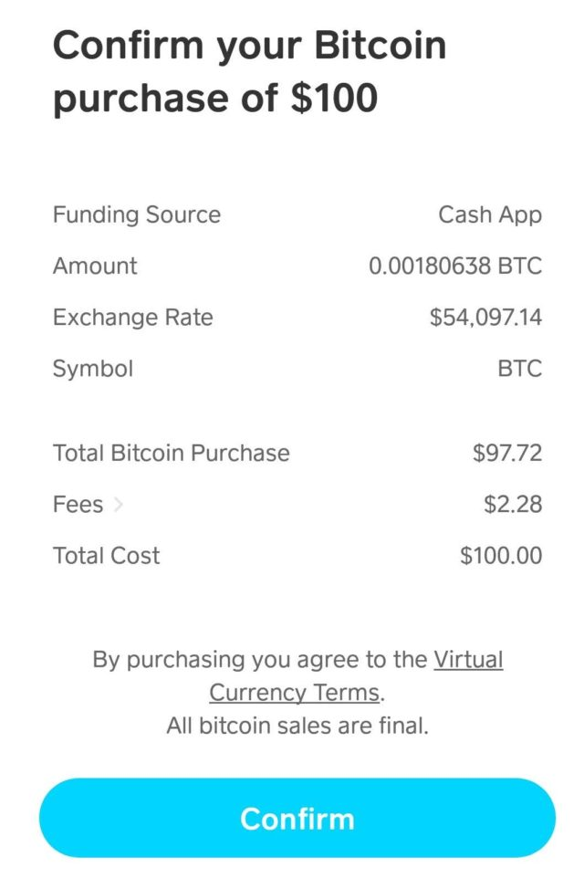 Bitcoin purchase confirmation on Cash App