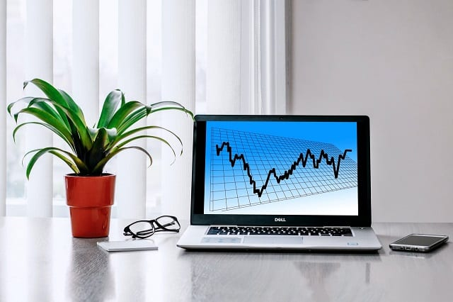 Investments displayed on laptop screen