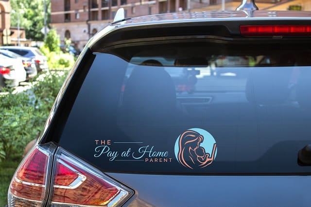 The Pay at Home Parent logo on car window