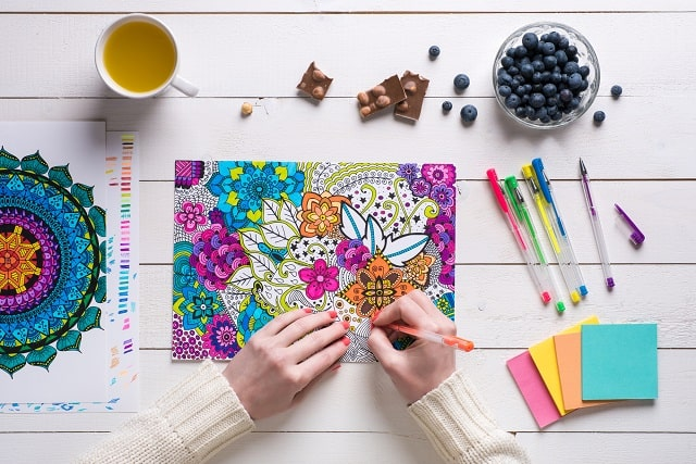 Woman getting paid to color